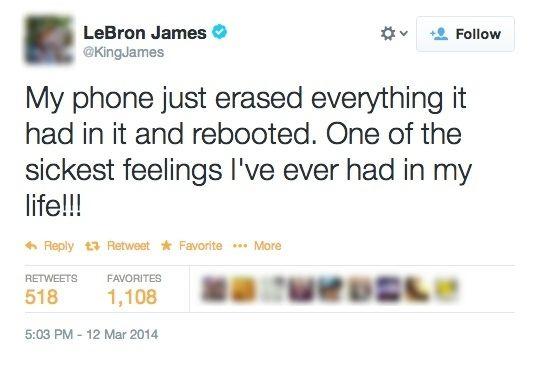 Publicación de Twitter de LeBron quejándose de su teléfono.
