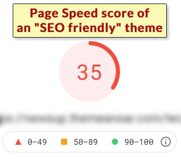 Captura de pantalla de las puntuaciones de rendimiento bajas de una
